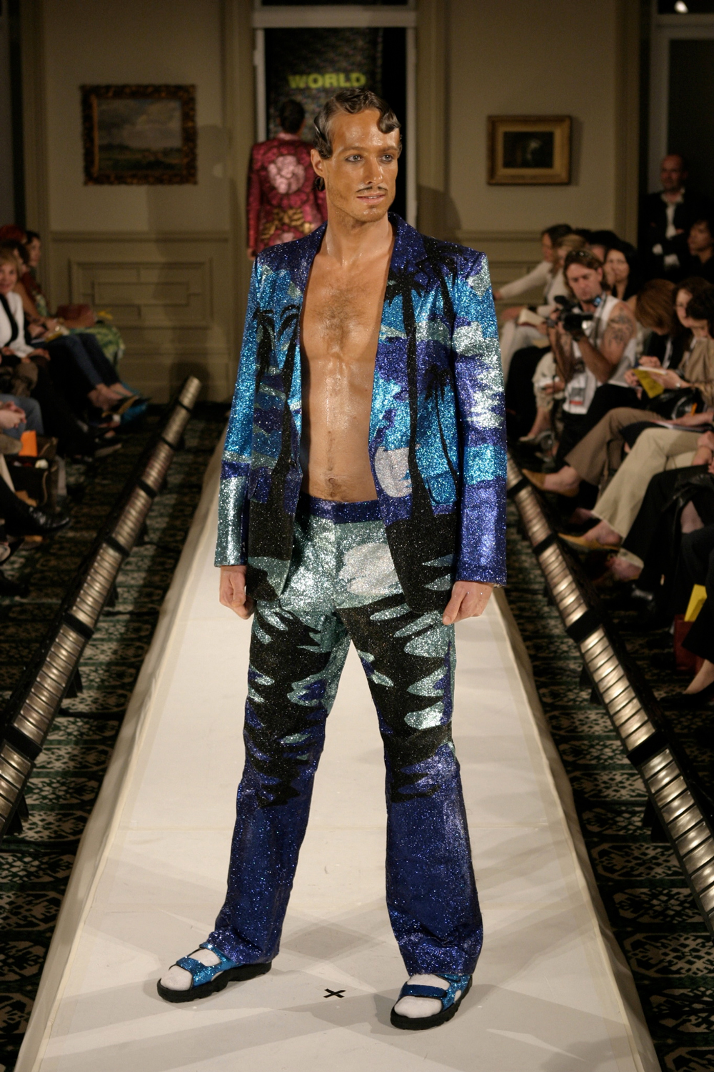 Survival and Atomic Bombing, 2003 Glitter on Fabric, WORLD Winter Collection, NZ fashion Week. Photo: Michael Ng.