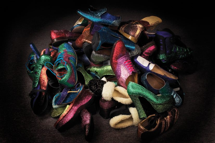 Memories of the Future, 2005, 70 shoes and glitter, Dimensions variable. Photo: Norm Heke.
