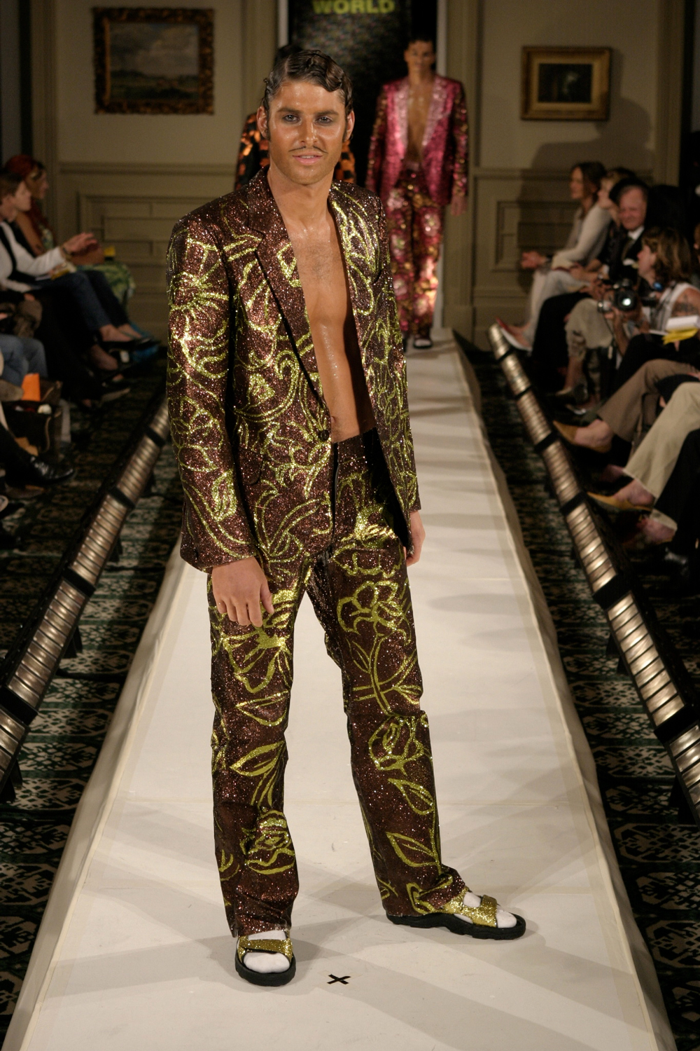 The Poppies and the Mustard Plaster, 2003, Glitter on Fabric, WORLD Winter Collection, NZ Fashion Week. Photo: Michael Ng.