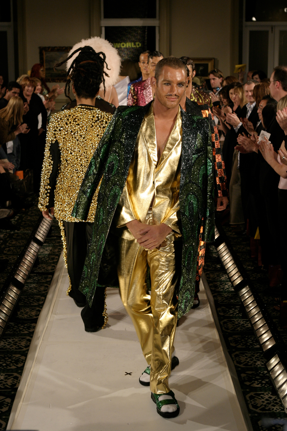 Hydrogen Bomb Explosion Zones, 2003, Glitter on Fabric, WORLD Winter Collection, NZ Fashion Week. Photo: Michael Ng.