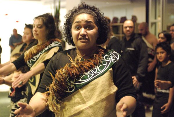 Powhiri at the opening ceremony of News from islands, Campbelltown Arts centre, Sydney, Australia, August 31 – November 31, 2007. Photo: William Yang