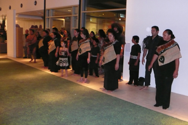 Te Rauparaha haka 'Ka Mate' performed as a powhiri and activation of the work Te Puu Oa: the first step in the history of walking - 2007 at the opening ceremony of News from islands at Campbelltown Arts centre, Sydney, Australia, August 31 – November 31, 2007. Photo: William Yang.