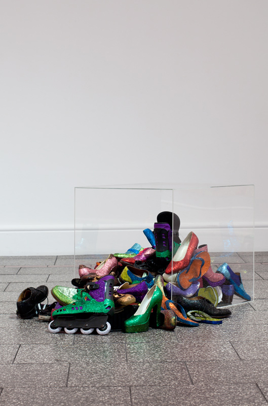 Memories of the Future, 2005, 70 Shoes and glitter, perspex dimensions variable. Photo: Sam Hartnett.