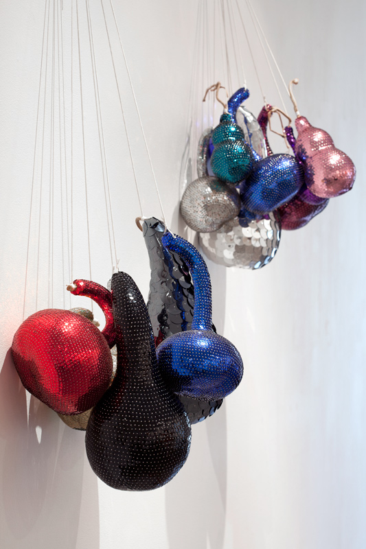 Time and Place, 2007, Gourds, sequins, pins, polyurethane foam and 4 ply thread Dimensions variable. Photo: Sam Hartnett.