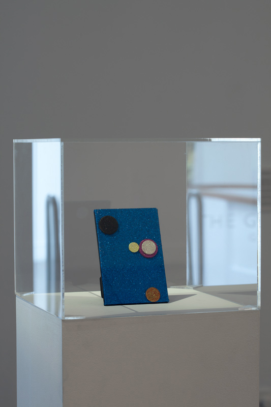 Pop, 2003, Glitter and tiddly winks on canvas board, 15 x 10 cm. Photo: Sam Hartnett.